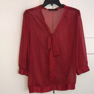 The Limited red dot blouse